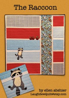 Raccoon Quilt Pattern by LaughSewQuilt on Etsy