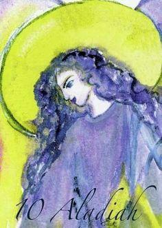"(10) ALADIAH (Kabbalistic angel) 6-10 May, provides essence of: Divine Grace. (ángel Cabalístico) 6-10 mayo, aporta esencia de: Gracia Divina. Deck: ""Le Carte degli Angeli"" Artist: Oliwka Neugebauer Divine Grace, Angel Drawing, Tarot, Dio, Drawings, Artist, Names, Painting, Serif"