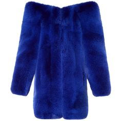 Exaggerated-shoulder fox-fur coat Saint Laurent MATCHESFASHION.COM ($505) ❤ liked on Polyvore featuring outerwear, coats, saint laurent, yves saint laurent, blue coat, blue fox fur coat and fox fur coat