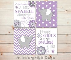 Elephant Nursery Art Purple Gray Nursery Art by HollyPopDesigns