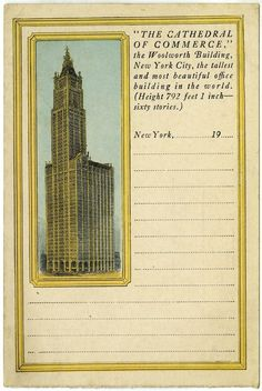 """""""The Cathedral of Commerce - the Woolworth Building, New York City,"""" postcard, PR NYHS Image Woolworth Building, City Architecture, Historical Society, Historical Photos, Old And New, New Image, Poster Size Prints, New York City, Online Printing"""