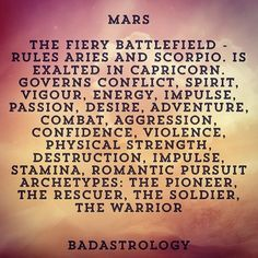 Mars rules 1st house/Aries