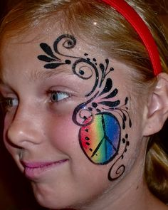 Body Paint Salt Lake City Face Painting and Balloon Twisting Face Painting Illusions I need to get a rainbow cake Easy Face Painting Designs, Face Painting Images, Face Painting Tips, Body Painting, Hippie Face Paint, Peace Painting, Girl Face, Face And Body, Artistic Make Up