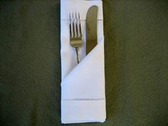 """Folding a Napkin Into a Simple Pocket - Napkin Fold Tutorial- Fold our napkins like this and stamp """"S"""" or Nicole and Scott to put on plates. Linen Napkins, Cloth Napkins, Paper Napkins, Paper Napkin Folding, Folding Napkins, Elephant Table, Diy Décoration, Diy Tutorial, Diy Design"""