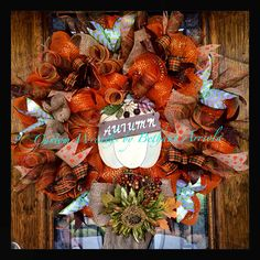 Fall autumn pumpkin deco mesh wreath for front door decor for Halloween and Thanksgiving. Custom Wreaths by Bethany Arriola 2014