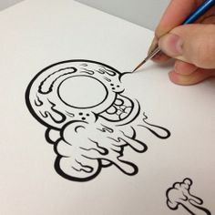 Well those letters are done, now I'm working on this little guy. I'm using a liner brush and some India ink, as usual… #bu...