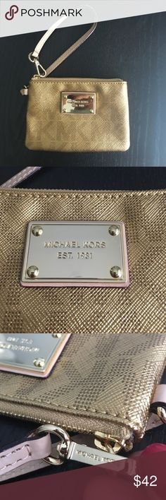 💛Michael Kors gold MK logo wristlet like new! Like new! No defects!! No scratches on logo! Michael Kors Bags Clutches & Wristlets