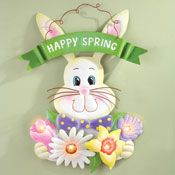Lighted Happy Spring Floral Bunny Wall Decor
