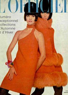 L'Officiel-September 1966  Models wearing creations of Pierre Cardin.French Fashion Magazine: L'Officiel,September 1966.