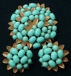 Trifari Pin and Earring Set Turquoise colored Cabochons Gold Tone signed Trifari Crown Sold for $ 50