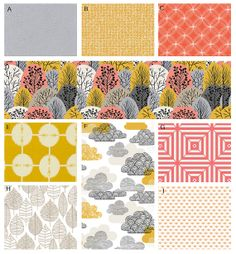 Custom Crib bedding Coral Grey and Yellow by GiggleSixBaby, $383.00 (sheet in fabric pattern h)