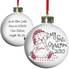 Personalised Cute Teddy My 1st Christmas Bauble