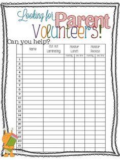 Parent Volunteer Form for Orientation/Open House