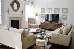 The scale of room and furniture help offset the size of the TV.