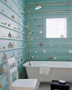 shells lining the bathroom walls