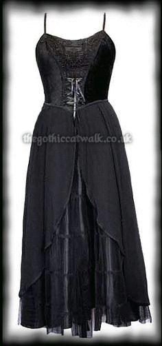 Long Gothic Dress - Black Velvet, Lace &  Satin