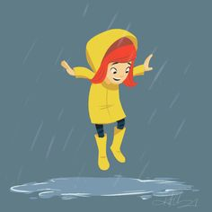 Kurt Chang, cartoon, girl, rude, happy, rain, singing in the rain, yellow, raincoat, puddle, jumping, animation, gif