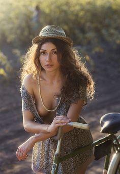 Girl and retro bike - null