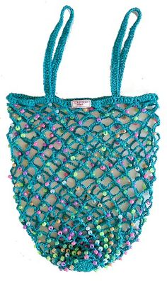 A beaded shopping bag tutorial, in Swedish.