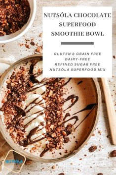 Gluten & Grain Free, Dairy-Free and Refined Sugar Free recipes with NUTSOLA Superfood mix! Sugar Free Recipes, Clean Recipes, Sweet Recipes, Healthy Breakfast On The Go, Breakfast Ideas, Fortified Cereals, Smoothie Bowl, Superfood Smoothies, Chocolate Belga