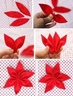 Como hacer un pie de arbol con flores de noche buena de fieltro