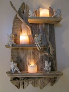 Old worn Genuine Driftwood Shelves Solid Rustic Shabby Chic Nautical Artwork