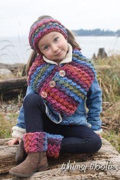 Crochet Scarf Pattern: 'Button Wrap Scarf with Headband & Boot Cuffs, Child-Women, Easy Crochet Crochet Boot Cuff Pattern, Crochet Hood, Crochet Headband Pattern, Crochet Patterns, Crochet Ideas, Scarf Patterns, Crochet Simple, Crochet For Kids, Crochet Baby
