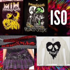 Things I'm looking for! :3 UPDATED ISO:all of the exact items pictured, for decent prices, please! Sorry some of the pictures are sideways, I just thought it would help show them more ^.^ Please message me if you have any of the items! Thank you!                           Tags: Hot Topic Anime Vocaload Hatsune Miku Harley Quinn Lip Service Goth Nightmare Before Christmas Jack Skellington Drop Dead Motionless In White #hottopic #hatsunemiku #lipservice #motionlessinwhite…