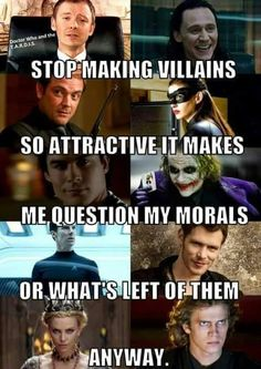 Especially Loki, and Joker. But seriously, how did they NOT include Moriarty? Or Harley Quinn? Marvel Dc, Marvel Funny, Marvel Memes, Mundo Marvel, Marvel Quotes, Loki, Fandoms Unite, Fangirl, 4 Panel Life