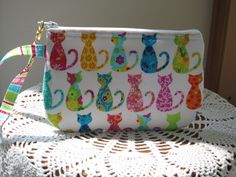 Smart phone Case Gadget Pouch Clutch Wristlet Zipper Gadget Pouch Colorful Cats - pinned by pin4etsy.com