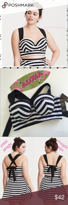 NWT Torrid Striped Push-Up Halter Bikini Top PLUS *TOP ONLY* Swipe right on this striped bikini top. With a push-up, multi way bra underwire cups, adjustable straps that can be worn crossed or as a halter, and a cute bow back. An adjustable hidden hook closure and power mesh lining lend comfort to the style. Top quality bikini top.  Let those girls have fun during all your sun loving activities! Size 2 and size 4 available (see size chart above) Retail $69. torrid Swim Bikinis