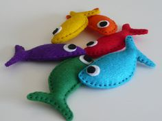 DIY Fishing Game | Sew magnets inside felt fish, make a fishing rod with a dowel and a magnet.. #preschool #daycare