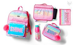 Show off that shine. Justice School Supplies, Cute School Supplies, Justice Toys, Justice Clothing, Justice Accessories, School Accessories, Cute Backpacks, Girl Backpacks, School Shoes