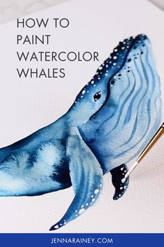 How to paint watercolor whale easy tips! A lot of people commented that they wanted to see more animal tutorials, I'm kicking it off with this beautiful humpback whale. In the video, you'll learn how to sketch the while and then drop color with wet-on-wet and wet-on-dry techniques and some white gouache for some added detail. Watercolor Flowers Tutorial, Step By Step Watercolor, Watercolour Tutorials, Watercolor Techniques, Painting Tutorials, Watercolor Whale, Easy Watercolor, Watercolor Animals, Watercolor Paintings
