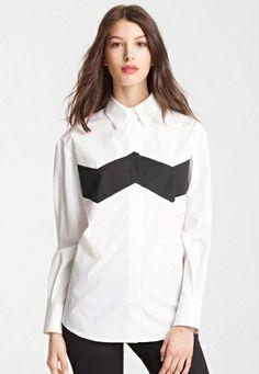 b6936c5ae1c73 White Contrast Black Lapel Long Sleeve Blouse