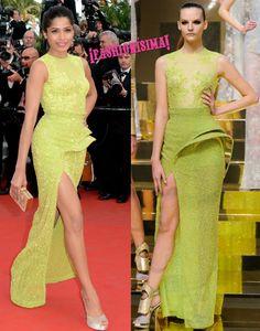 Freida Pinto otra vez de 10 en la alfombra roja de Cannes con un look de Versace Atelier