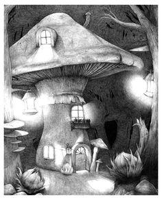 Mushroom Forest by on DeviantArt Mushroom Drawing, Mushroom Art, Large Mushroom, Mushroom House, Forest Illustration, Fantasy Illustration, Inspiration Art, Art Inspo, Art Sketches