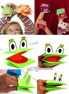 easy to make puppets - easy and super fun Kids Crafts, Frog Crafts, Preschool Crafts, Arts And Crafts, Paper Crafts, Paper Puppets, Hand Puppets, Finger Puppets, Papier Kind