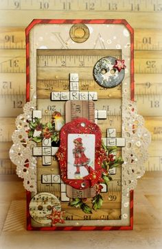 Merry Christmas tag for Bo Bunny with the Christmas Collage collection #bobunny #tags #christmas
