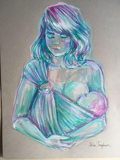 Babywearing illustration, Babywearing art, breastfeeding art, abstract figure by Chloe Trayhurn