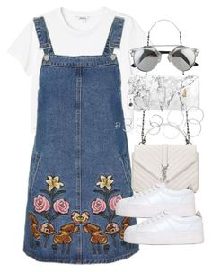 """Outfit with a denim pinafore for summer"" by ferned ❤ liked on Polyvore featuring Monki, Topshop, Yves Saint Laurent, No Name and Forever 21"