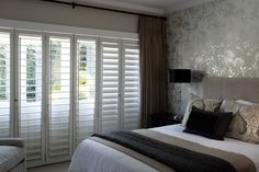 Security is a priority in every home but what can you do if you dislike the look of burglar bars? You could consider installing elegant Plantation Security Shutters instead. Indoor Shutters, House Shutters, Home Bedroom, Bedroom Decor, Bedroom Ideas, Bedroom Inspiration, Master Bedroom, Burglar Bars, Security Shutters