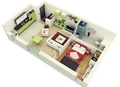 House for young couple or who's single 1 Bedroom House Plans, 3d House Plans, Modern House Plans, Small House Plans, Apartment Layout, 1 Bedroom Apartment, Apartment Design, Apartment Interior, Apartment Wallpaper