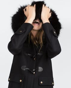 DUFFLE COAT WITH FAUX FUR LINED HOOD-View all-Outerwear-WOMAN | ZARA United States