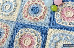 Crochet Square Motif - Free Crochet Pattern - (mypicot)* ༺✿ƬⱤღ  https://www.pinterest.com/teretegui/✿༻