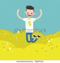 Wallow in money conceptual illustration: young lucky bearded man jumping on the pile of golden coins / editable flat vector clip art