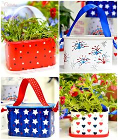 Recycle coffee containers to July 4th Flower Favors To-Go!  From littlemisscelebration.com for A Little Claireification