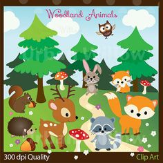 VECTOR WOODLAND ANIMALS - 20 piece clip art set in high resolution, Png &  Illustrator (Vector) files.