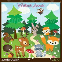 VECTOR WOODLAND ANIMALS - 20 piece clip art set in high resolution, Png &  Illustrator (Vector) files.