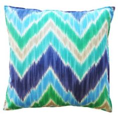 Check out this item at One Kings Lane! Chevron 20x20 Outdoor Pillow, Blue